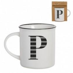 Taza Mug Porcelana Blanca Letra P Inicial Nombre Apellido Cafe Te 10 cm