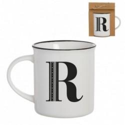 Taza Mug Porcelana Blanca Letra R Inicial Nombre Apellido Cafe Te 10 cm