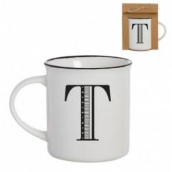 Taza Mug Porcelana Blanca Letra T Inicial Nombre Apellido Cafe Te 10 cm