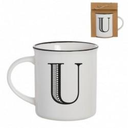 Taza Mug Porcelana Blanca Letra U Inicial Nombre Apellido Cafe Te 10 cm