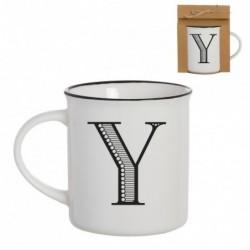Taza Mug Porcelana Blanca Letra Y Inicial Nombre Apellido Cafe Te 10 cm