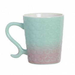 Taza Mug Porcelana Cola Sirena Turquesa Rosa Cafe Te 350ML