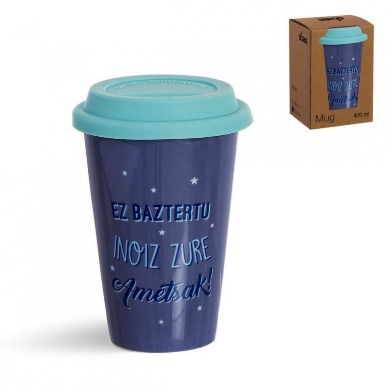 Taza Porcelana Portatil 400ML con Tapa Silicona Azul Mensaje en Euskera Cafe 14 cm