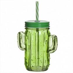 Vaso Jason Cristal con Pajita Cactus Verde Jarra con Tapa 14 cm