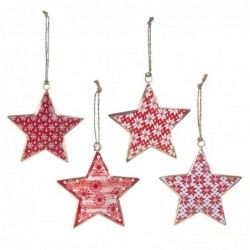 Adorno Arbol Estrella Bola Navidad Surtido Metalico Rojo y Blanco 10 cm (1 unidad)