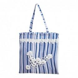 Bolso Shopper Tela Algodón Azul Rayas Bordado Flores 43 cm
