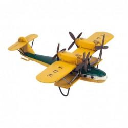 Figura Decorativa Avion Biplano Retro Metalico Avioneta Amarillo 28 cm