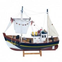 Figura Decorativa Barco Pesquero Adorno Maqueta Miniatura Pesca 32 cm