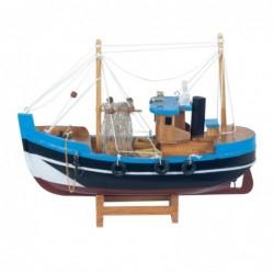 Figura Decorativa Barco Pesquero Azul Adorno Maqueta Miniatura Pesca 23 cm