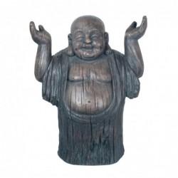 Figura Decorativa Buda Sonriente Adorno Budista Magnesia Resistente para Exterior 53 cm