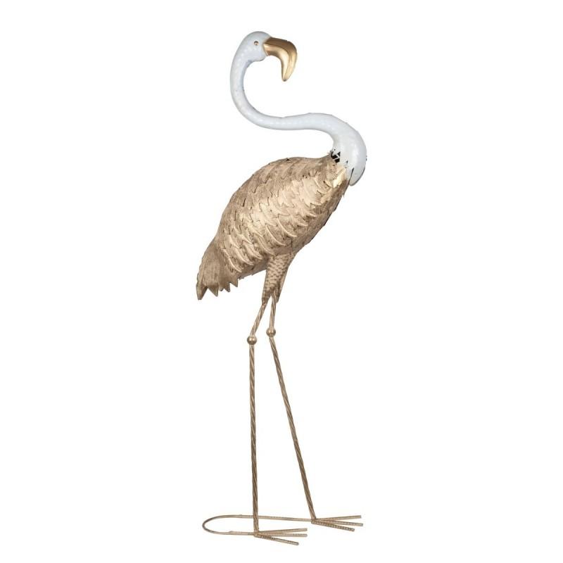 Figura Decorativa Flamenco Dorado Adorno Decorativo Diseño Metalico Flamingo 96 cm