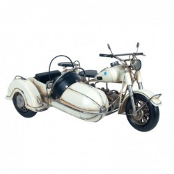Figura Decorativa Motocicleta Sidecar Retro Adorno Decorativo Moto Blanca Motero 34 cm