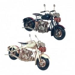 Figura Decorativa x2 Motocicleta Retro Adorno Decorativo Moto Motero Blanco Negro 27 cm