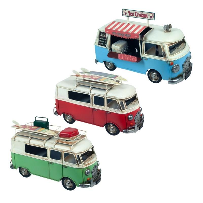 Figura Decorativa x3 Furgoneta Retro Hippie Surf Food Truck 28 cm