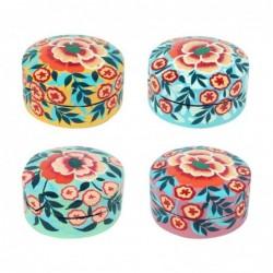 Pastillero Colores Surtidos Papel Mache Floral Flores Colorido Cajita Pastillas 8 cm (1 unidad)