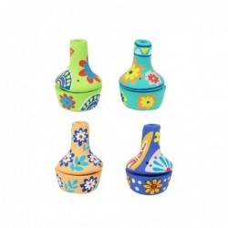 Quemador de Conos de Incienso Colores Surtidos Arcilla Diseño Etnico Flores 9 cm (1 unidad)