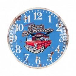 Reloj Pared Azul Coche Retro Desgastado Metalico 40 cm