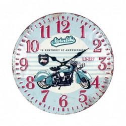Reloj Pared Motocicleta Azul Retro Pin Up Metalico Moto Motero 40 cm