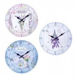 Reloj Pared Surtido Lavanda Flores Rustico Floral 34 cm (1 unidad)