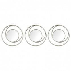 Set Espejos Pared x3 Circulos Diseño Moderno Elegante 25 cm