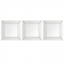 Set Espejos Pared x3 Cuadrado Diseño Moderno 25 cm