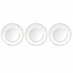 Set Espejos Pared x3 Redondo Diseño Elegante Blanco Dorado 25 cm