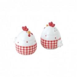 Set Sal y Pimienta Gallina Ceramica Salero Pimentero Blanco y Rojo 7 cm