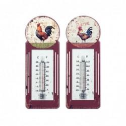 Termometro Retro Colores Surtidos Gallo Rojo Vino 29 cm (1 unidad)