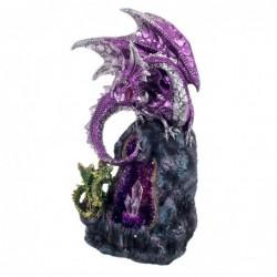 Figura Decorativa con Lámpara Luz Ambiental Dragones Geoda Resina Decoración Fantasía 28 cm