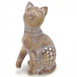 Figura Decorativa Gato Africano Étnico Resina 14 cm