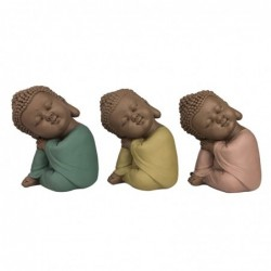 Figura Decorativa x3 Budas Resina 11 cm