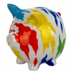 Hucha Figura Decorativa Cerdo Cerdito Colorido 22 cm