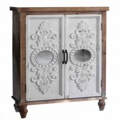 Mueble Consola Decorativo Blanco Madera 2 Puertas con Espejo Diseño Rustico Antiguo 87 cm