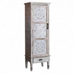 Mueble Decorativo Alto Blanco Madera Puerta Cajón Diseño Rustico Antiguo 160 cm