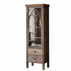 Mueble Vitrina Alta Madera Puerta Cristal Diseño Rustico Antiguo 160 cm