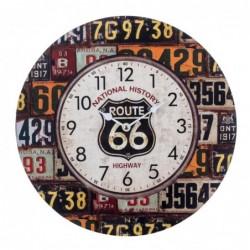 Reloj Pared Decorativo Vintage Ruta 66 Madera MDF 34 cm