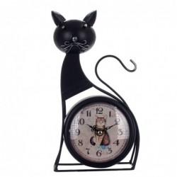 Reloj Sobremesa Decorativo Gato Metálico Negro 26 cm