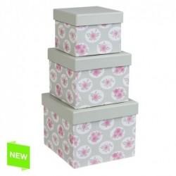 Juego 3 Cajas Carton Rosa