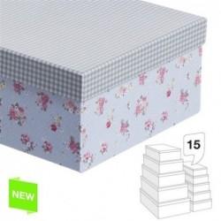 Juego 15 Cajas Carton Flor Tapa Vichy G:55X44X18-P:18X11X8 CM