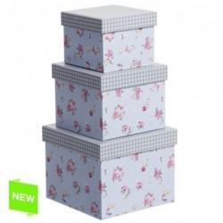 Juego 3 Cajas Carton Flor Tapa Vichy G:16