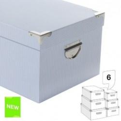 Juego 6 Cajas Carton  Rayas Azules