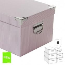 Juego 6 Cajas Carton  Rayas Rosa