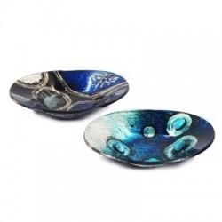 Plato x2 Modelos Cristal Azul 14x10 cm