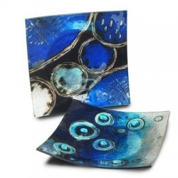 Plato x2 Modelos Cristal Azul 19x19 cm
