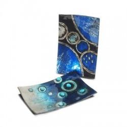 Plato x2 Modelos Cristal Azul 23x15 cm