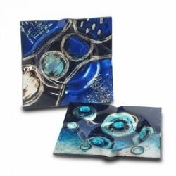 Cenicero x2 Modelos Azul 15x15 cm