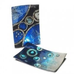 Plato x2 Modelos Cristal Azul 31x17 cm