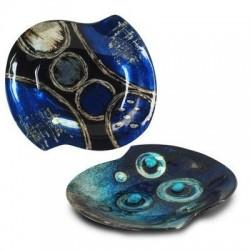 Plato x2 Modelos Cristal Azul 19x17 cm