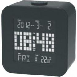 Reloj despertador cuadrado luminoso led con calendario y termómetro