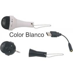 Altavoces con forma de micrófono blanco para ordenador